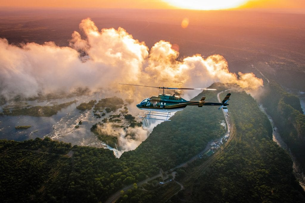 helicopter flight over Victoria Falls