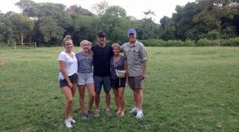 family on safari in africa