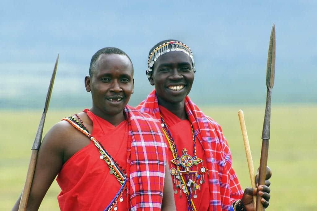 two maasai men