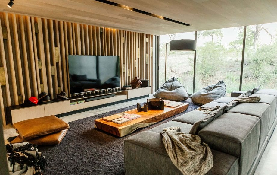 A living room with a television