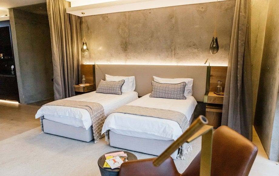 Another angle of a bedroom with two full sized beds