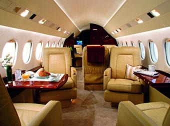 The inside of a luxury plane