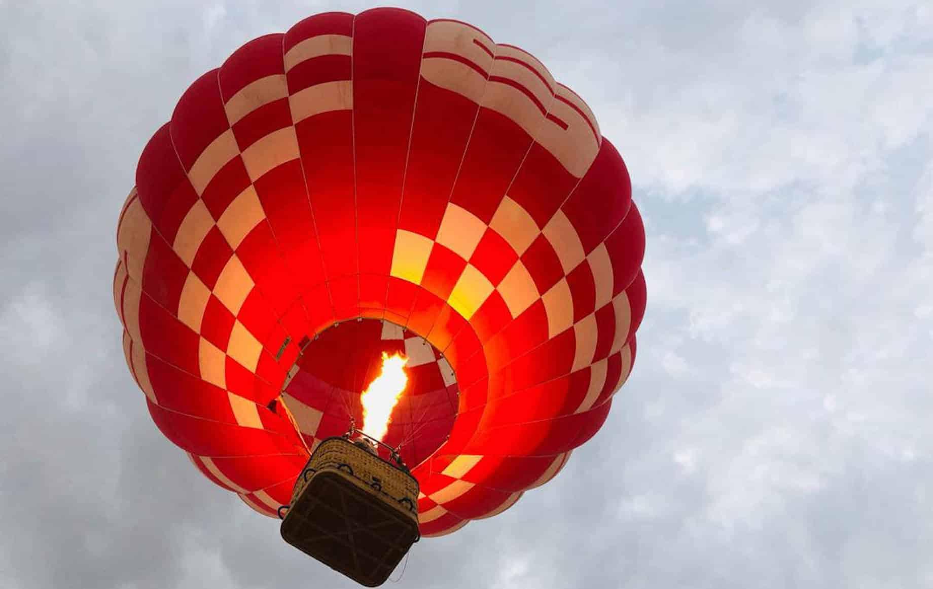 A hot air balloon in the sky