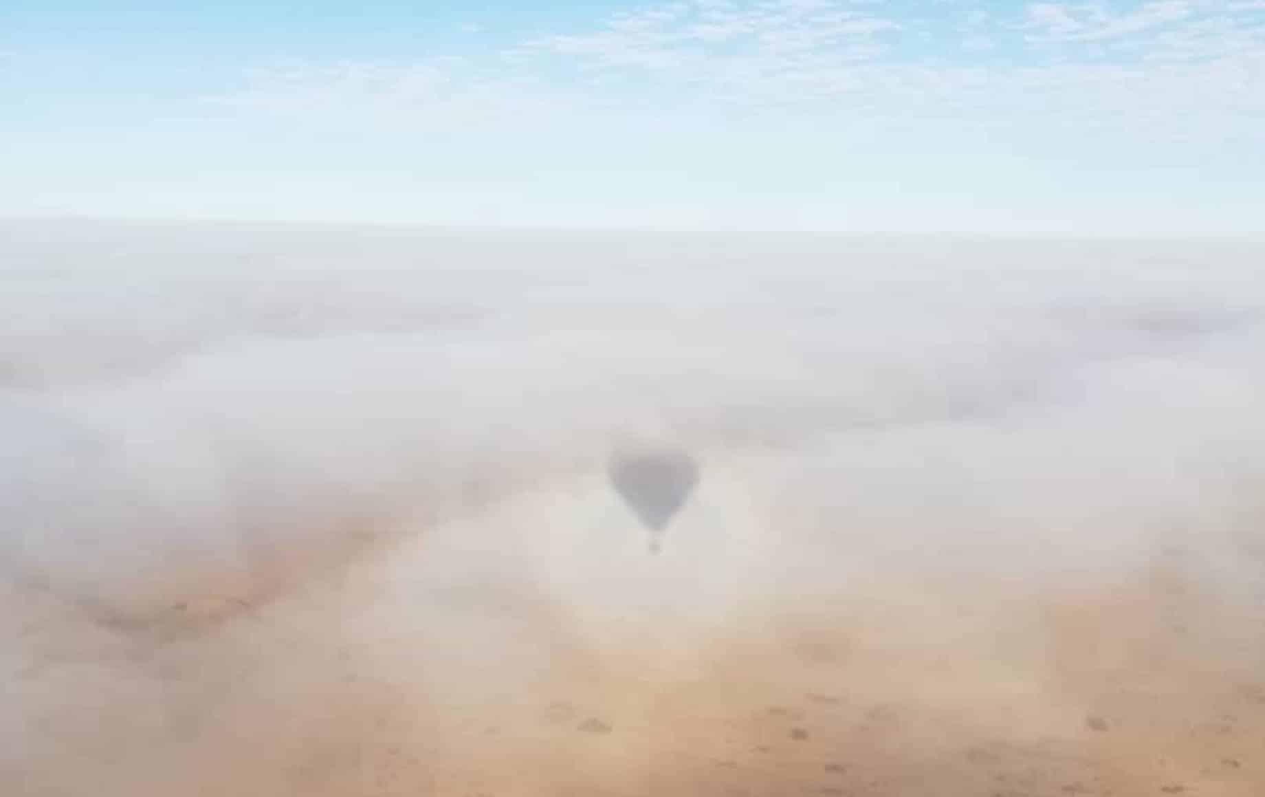 A hot air balloon in fog