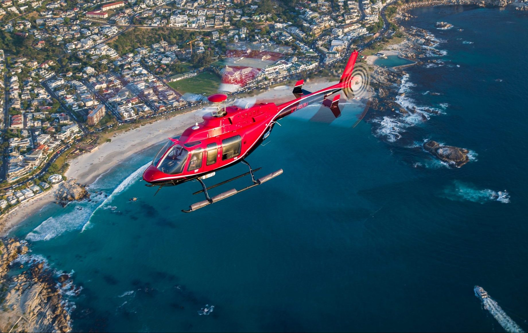 A helicopter over the coast