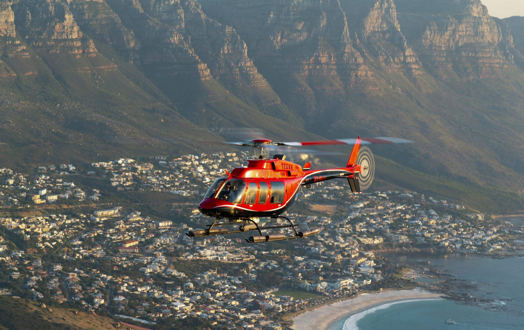 A helicopter above the cape town coast