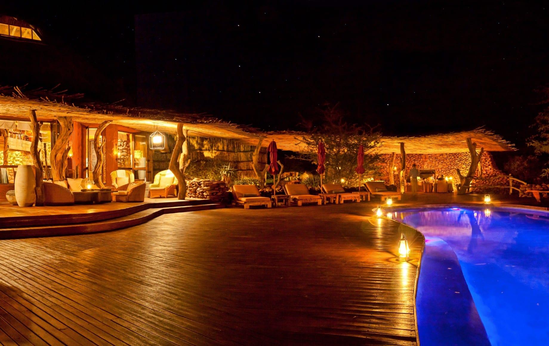pool at night at Tswalu Motse
