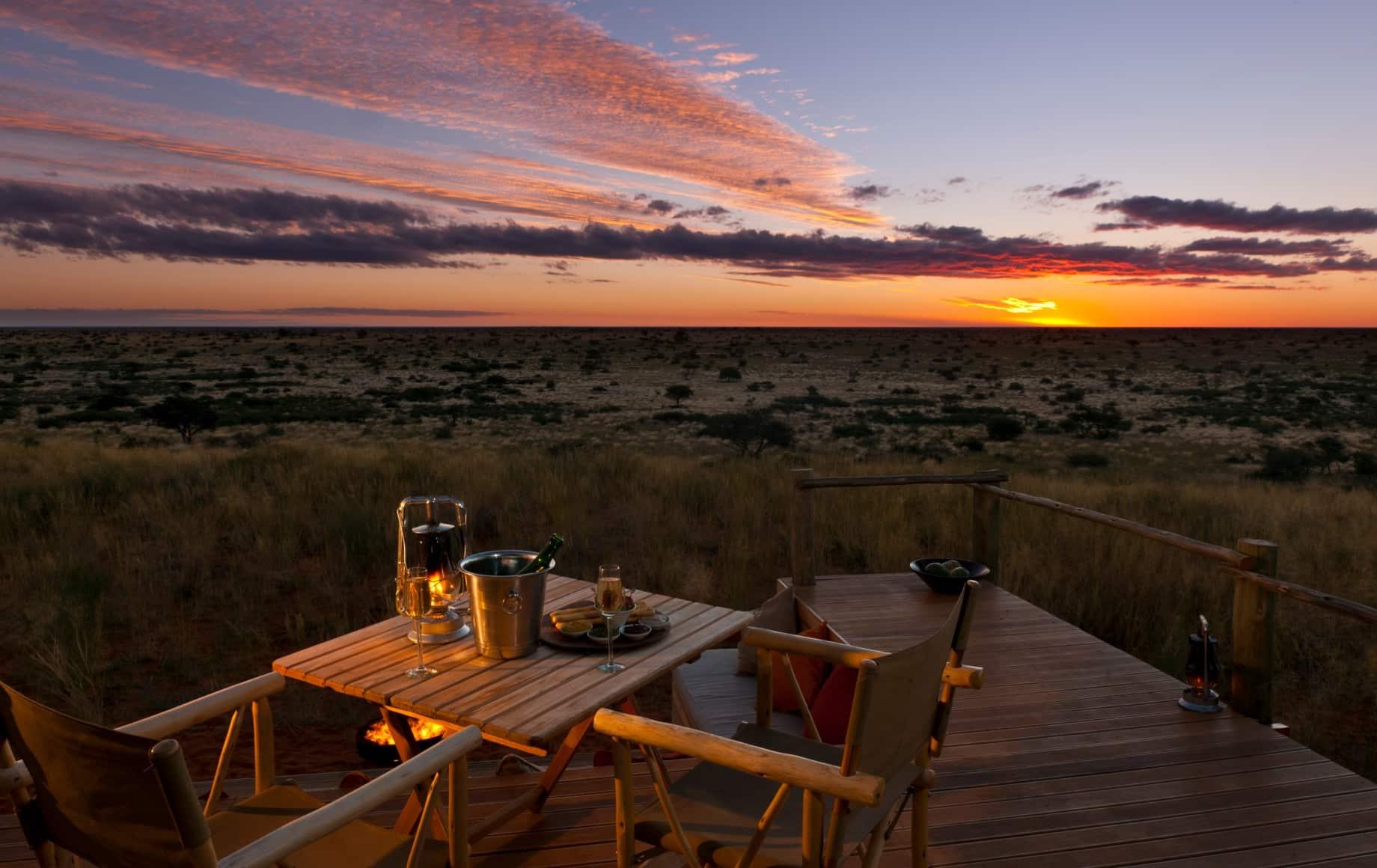 a table overlooking sunset at Tswalu Motse