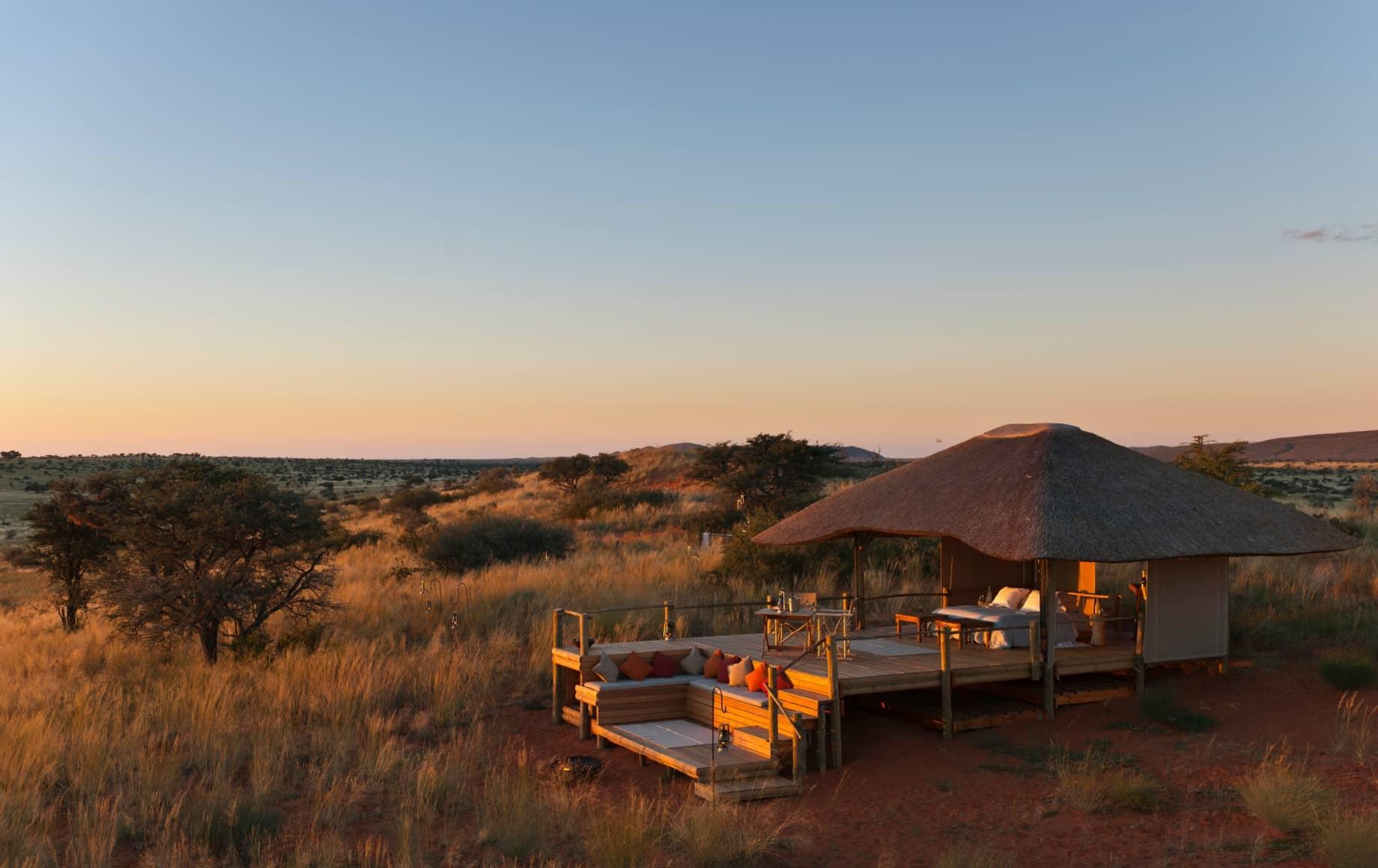 outside of a cabin at Tswalu Motse