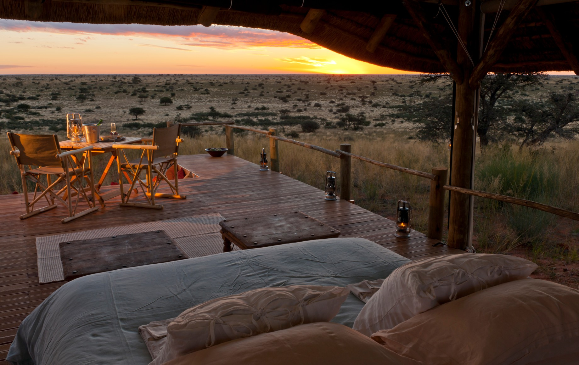 bed overlooking the savannah at Tswalu Motse
