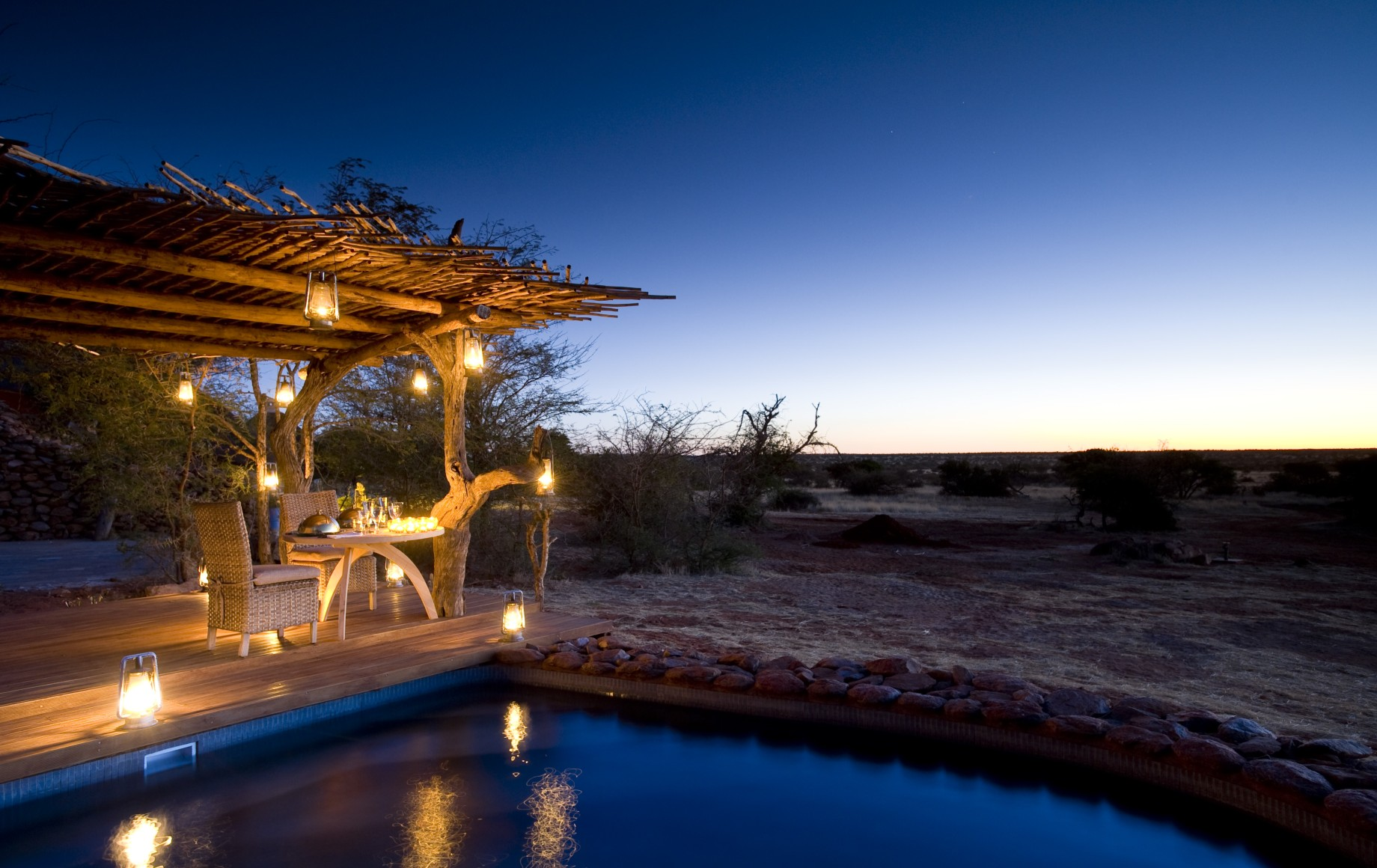 the pool at dusk at Tswalu Motse