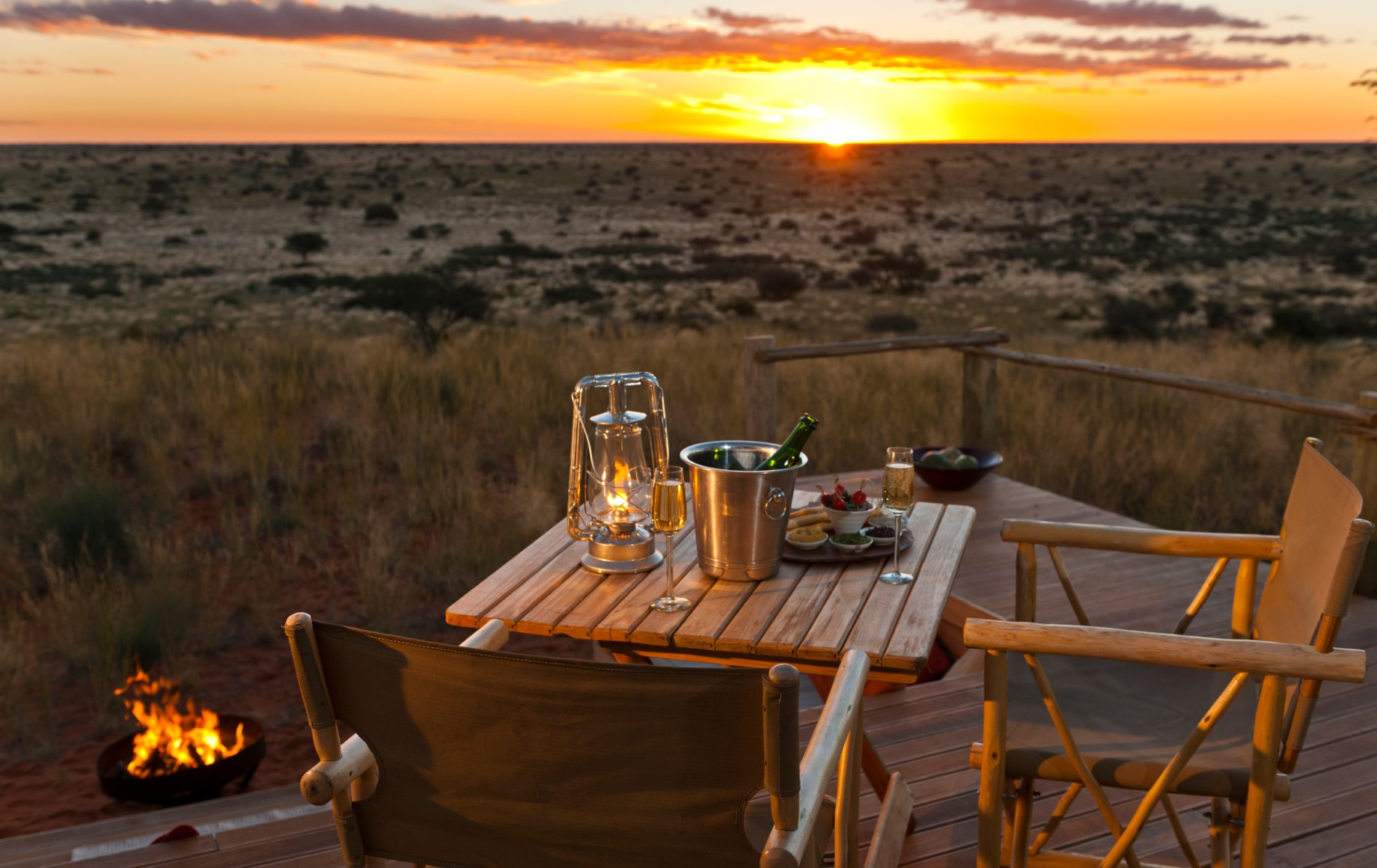 a table for dinner at sunset