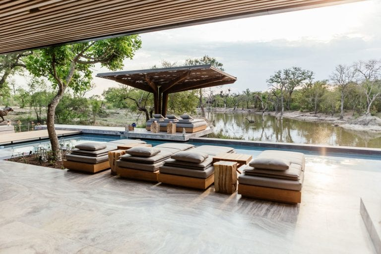 day beds overlooking a river