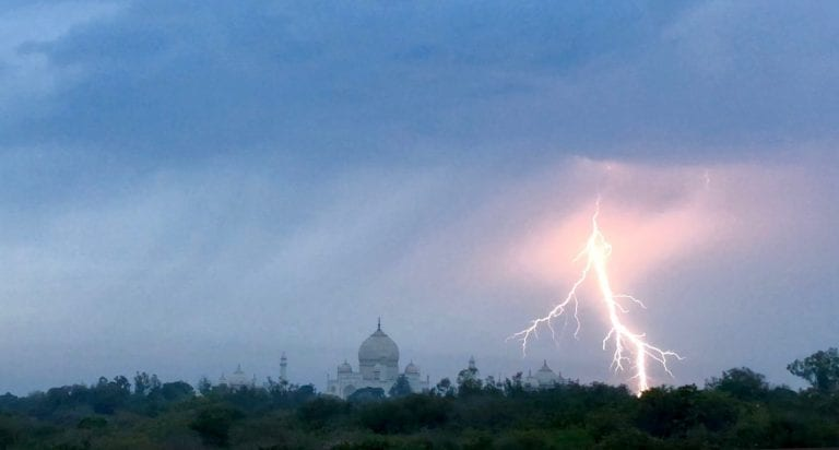 lighting striking near the taj mahal