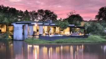 Cheetah Plains houses against a purple sky