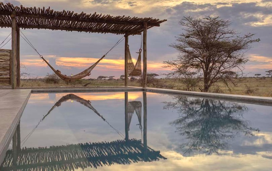 The pool at the Namiri Plains hotel
