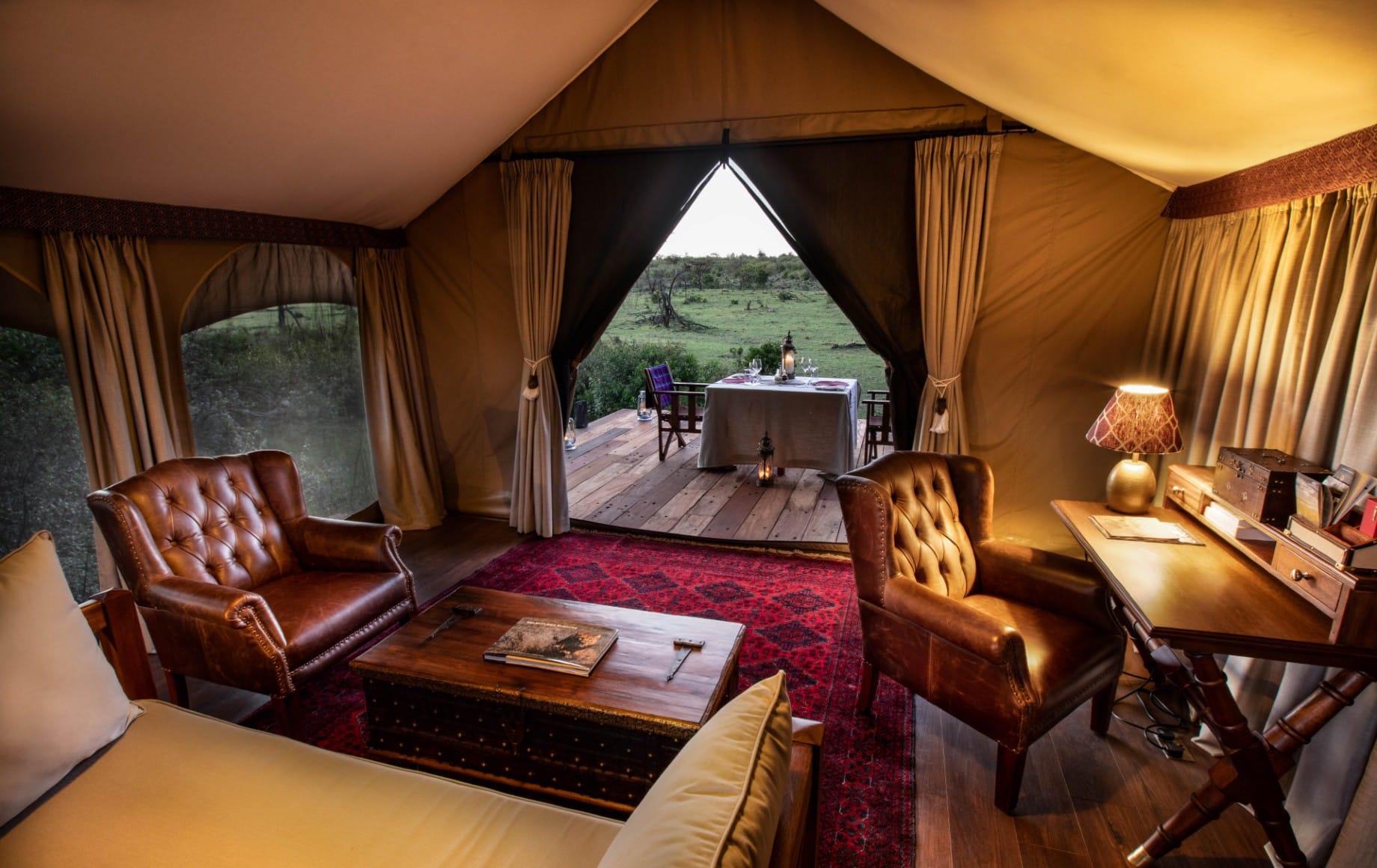 a room at Mara Nyika during dusk