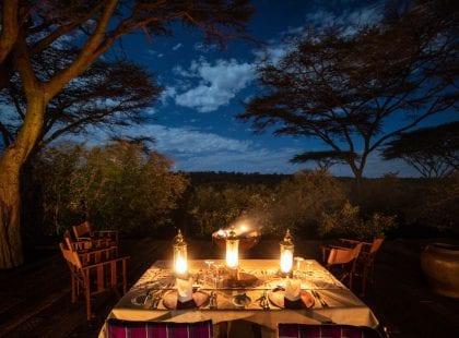 A dinner table at Mara Nyika