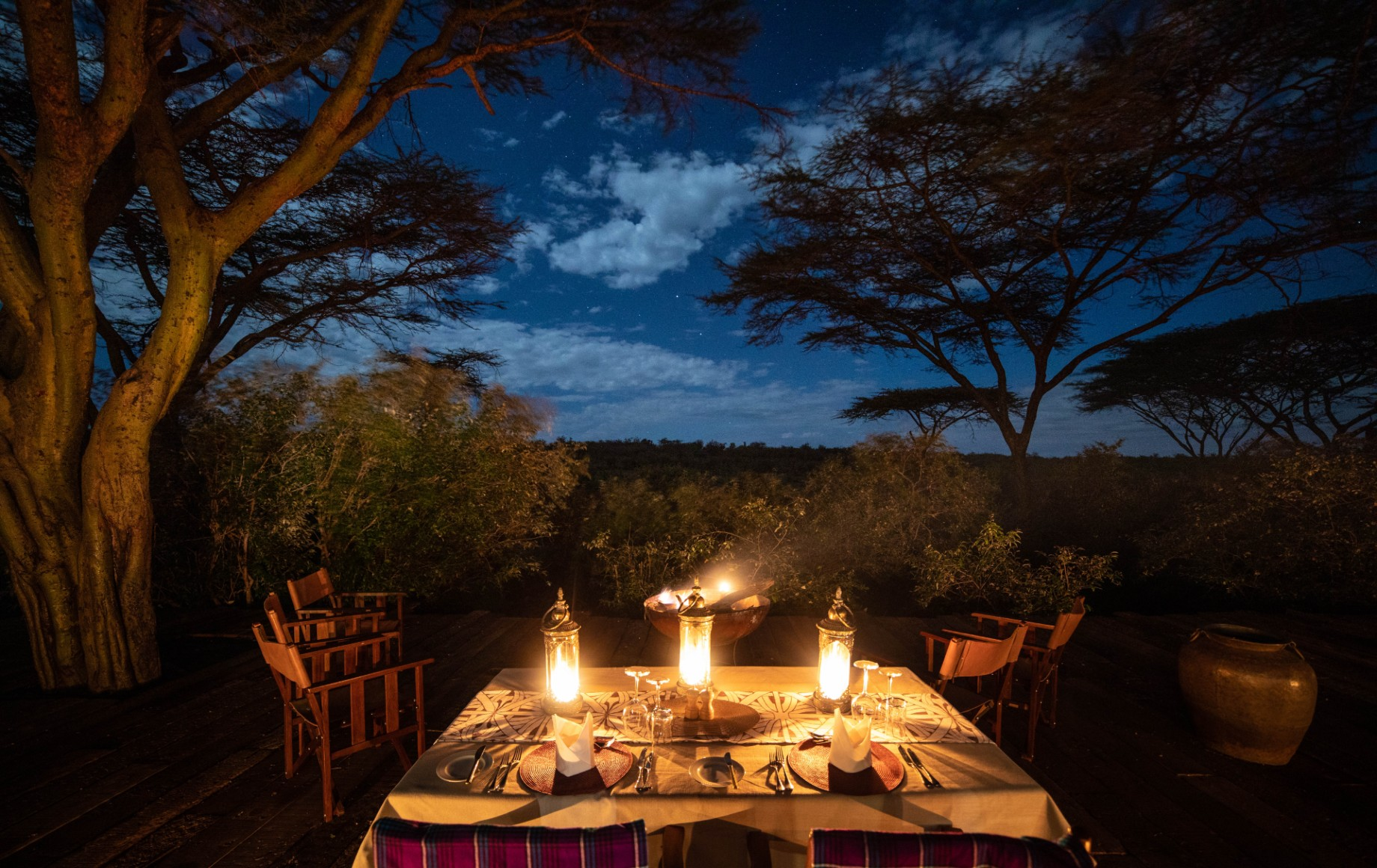 A dinner table at Mara Nyika
