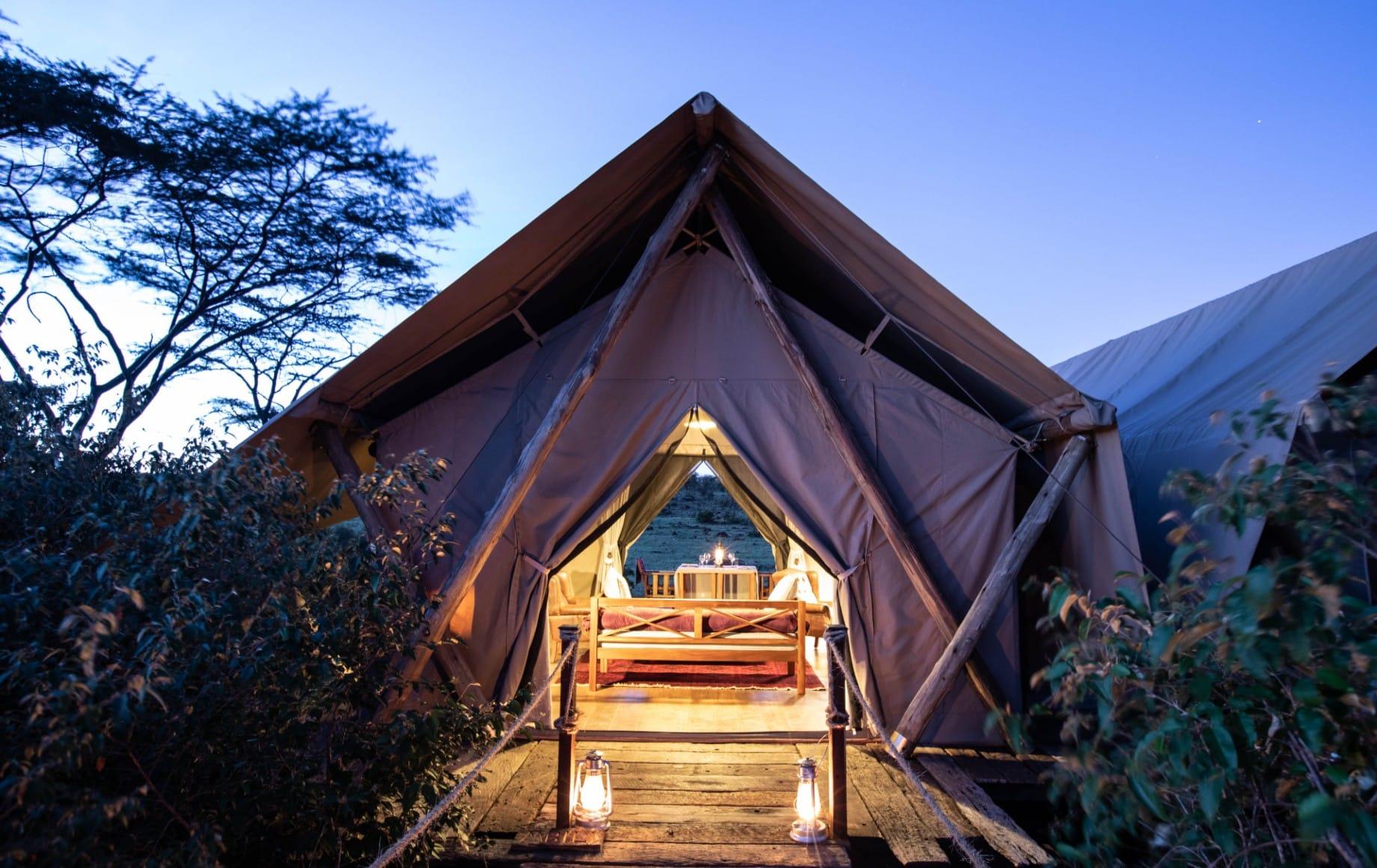 a tent at Mara Nyika