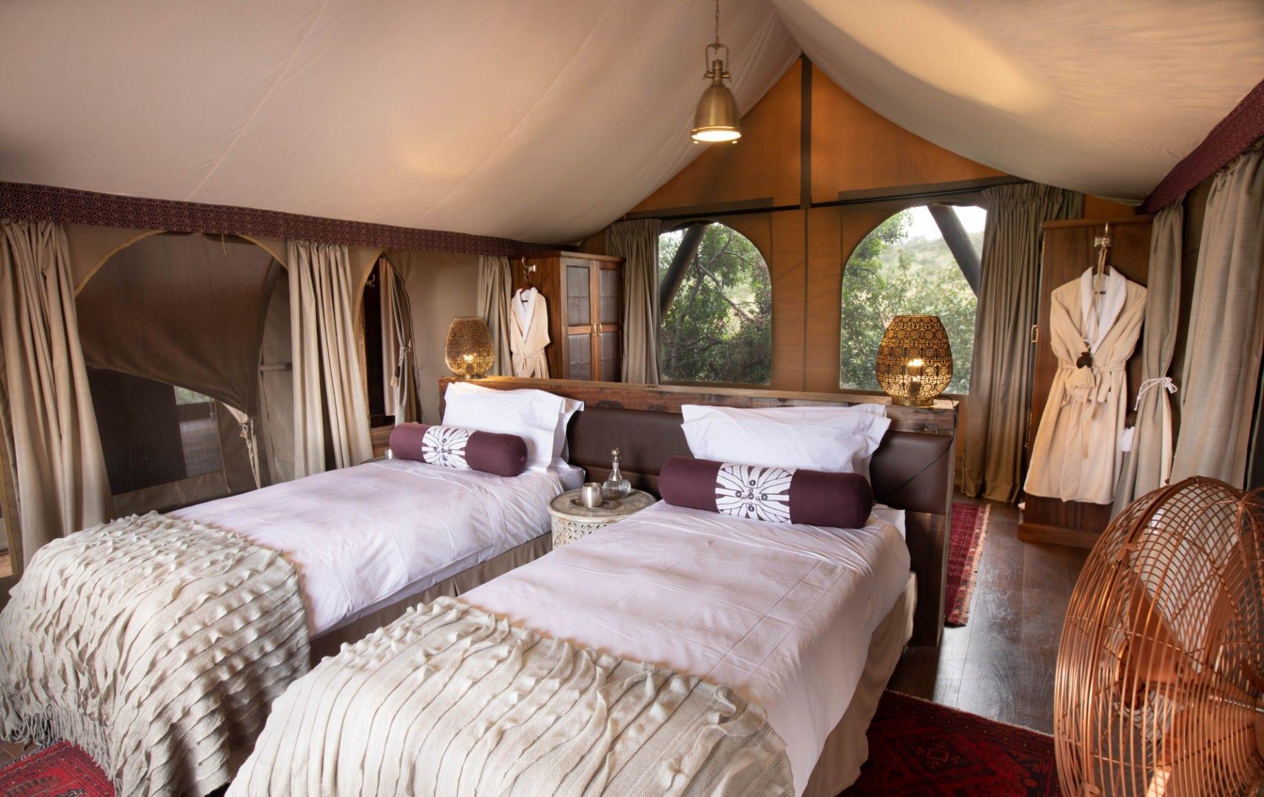 two twin beds at Mara Nyika