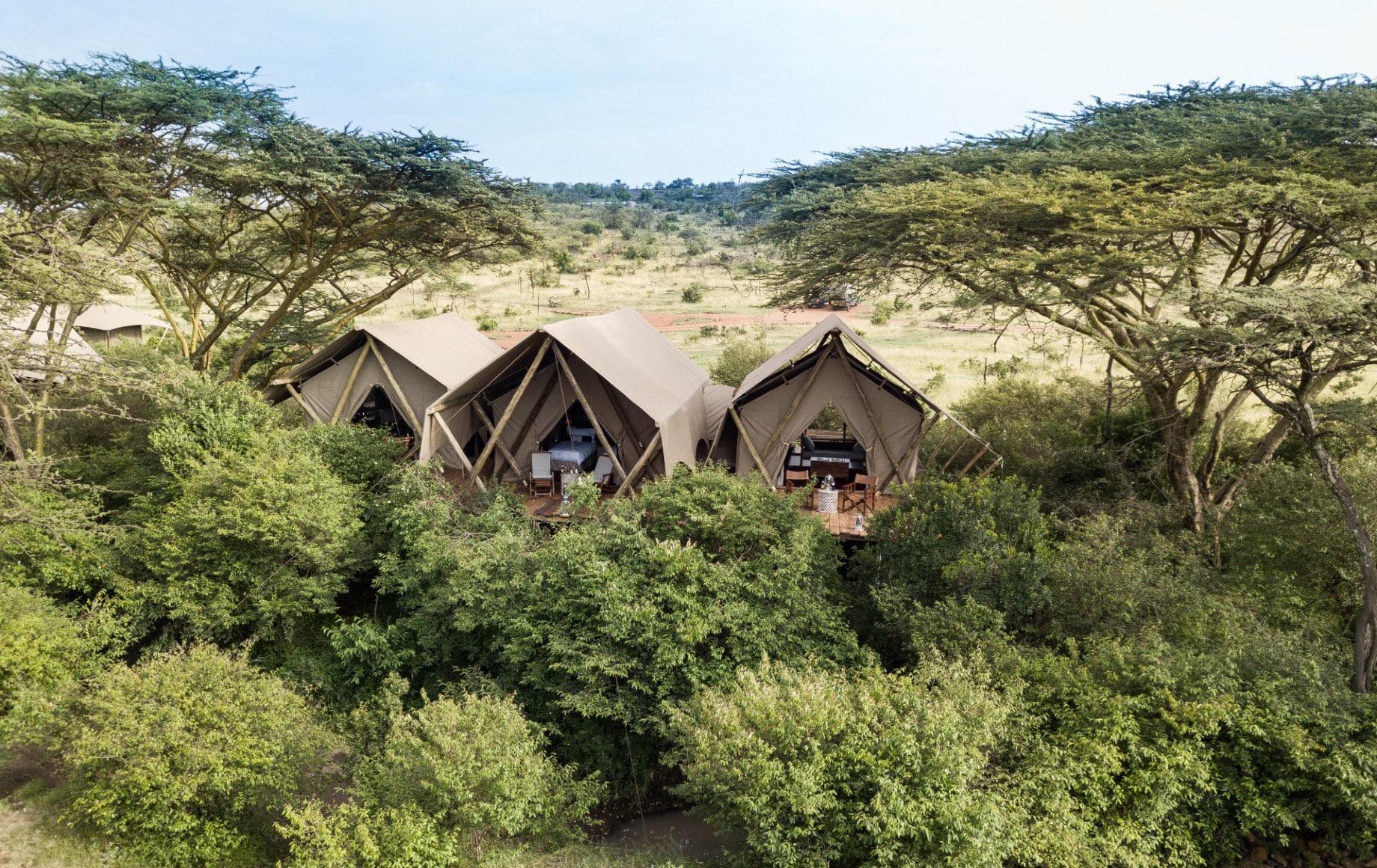several tents in a row at Mara Nyika