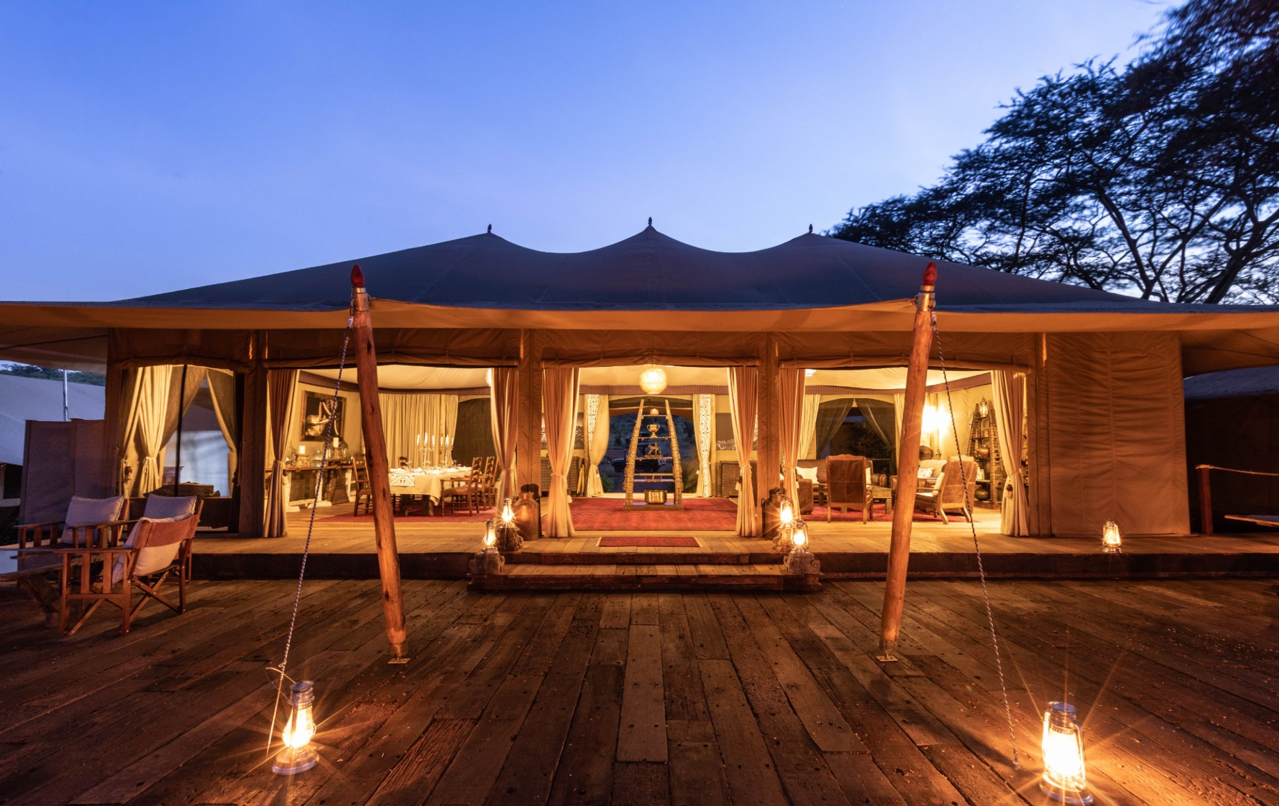 a tent at night at Mara Nyika