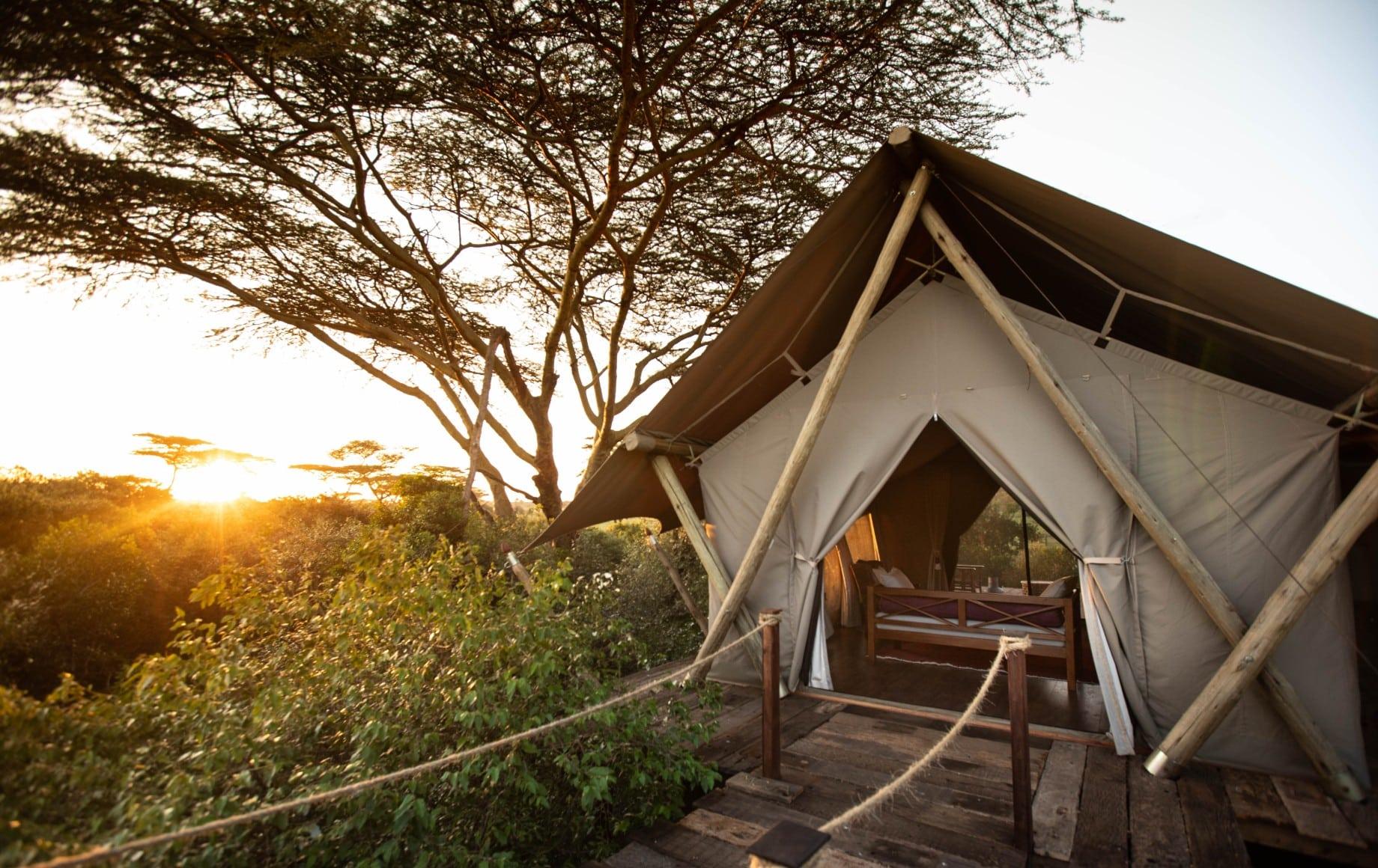 a bridge leading to a tent at Mara Nyika