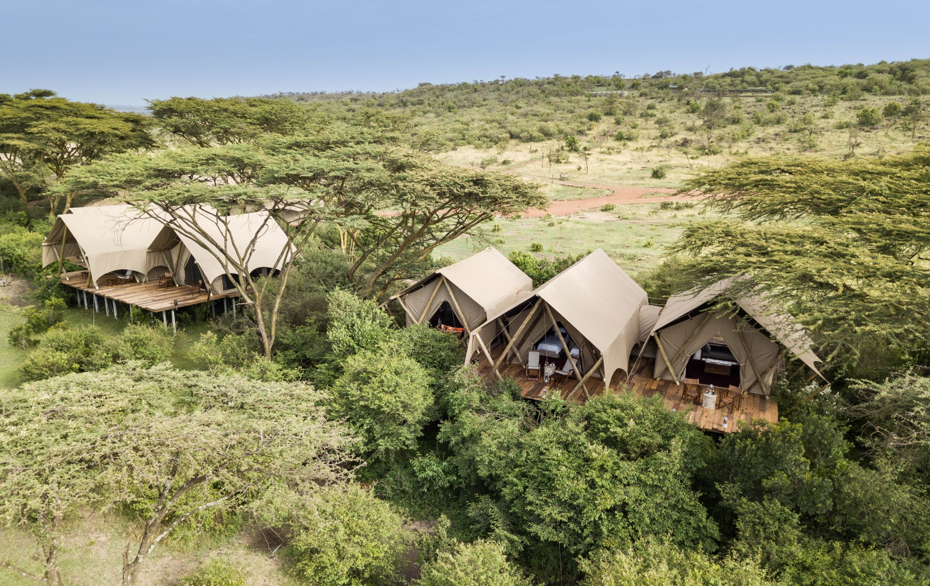 another angle of a row of tents at Mara Nyika