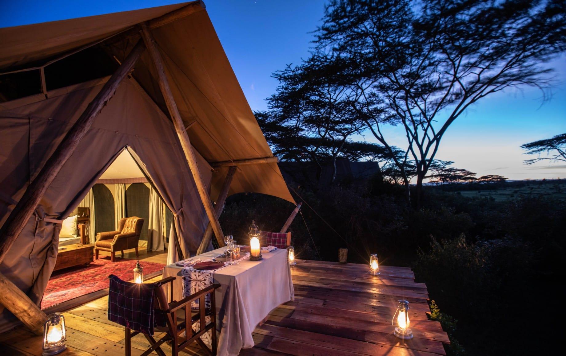 a deck at night at Mara Nyika