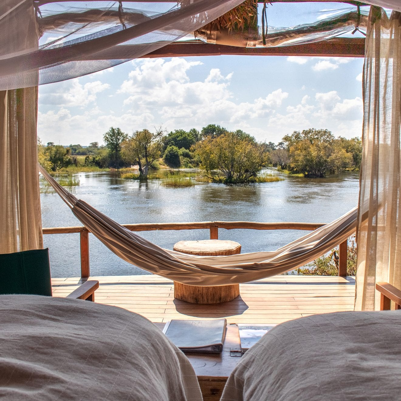 a bedroom patio overlooking the Zambezi River
