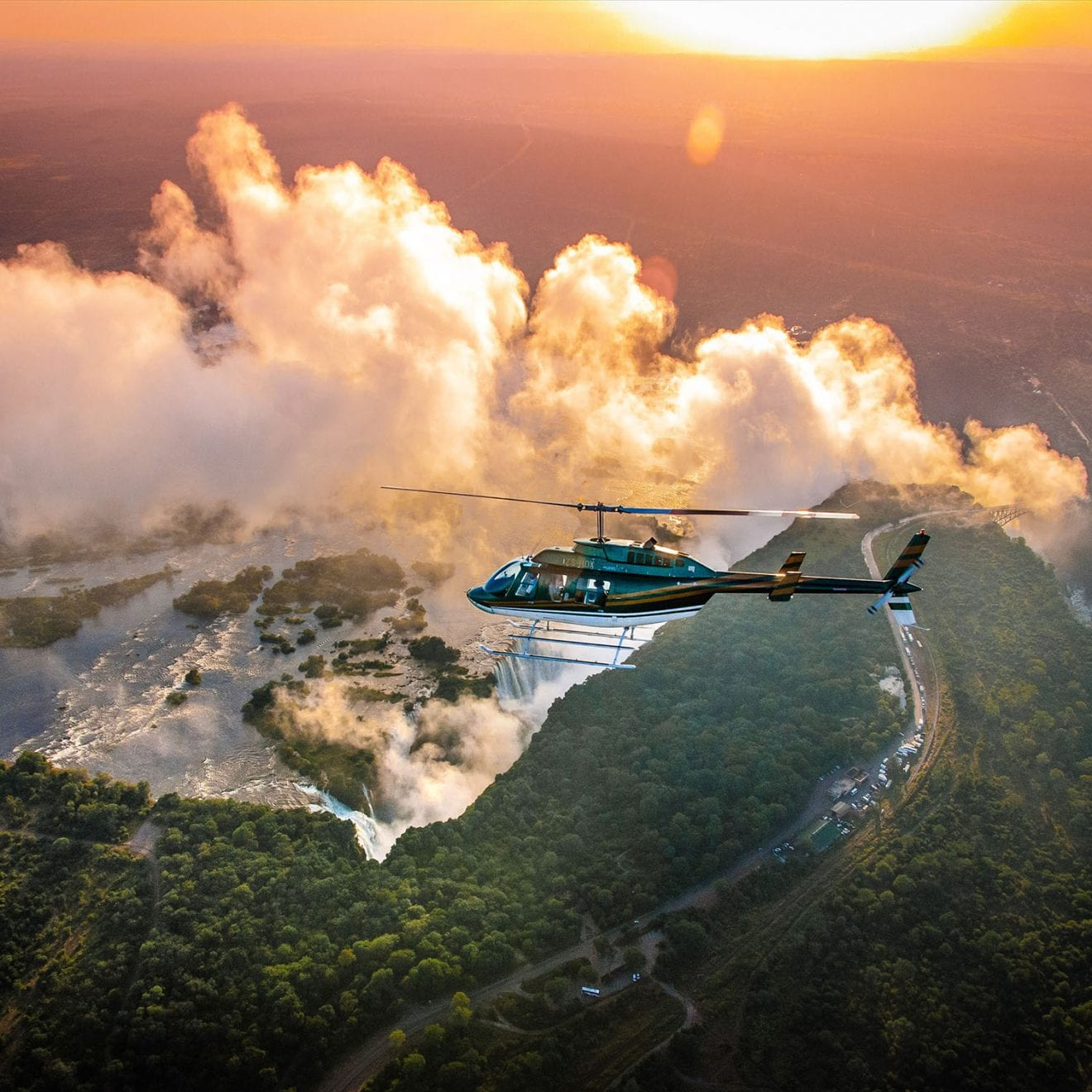 a helicopter flying over Africa