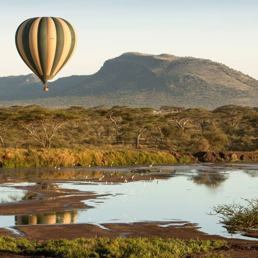 a hot air balloon flying over the Serengeti