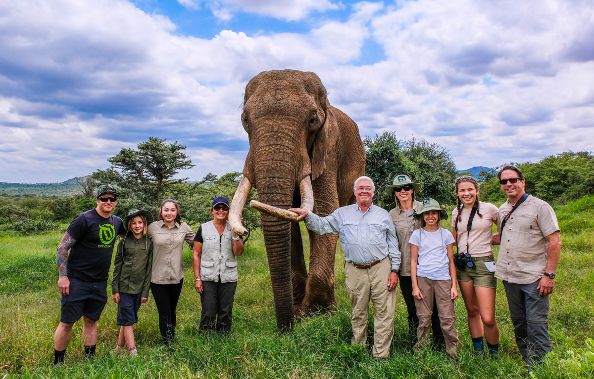 Travelers with an elephant