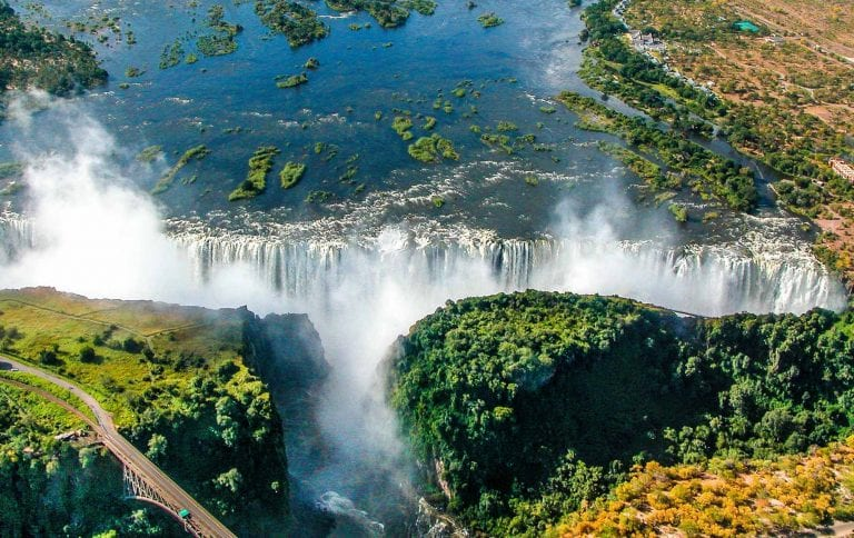 an aerial view of the majestic Victoria Falls