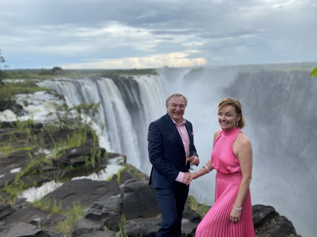 married couple at Victoria Falls