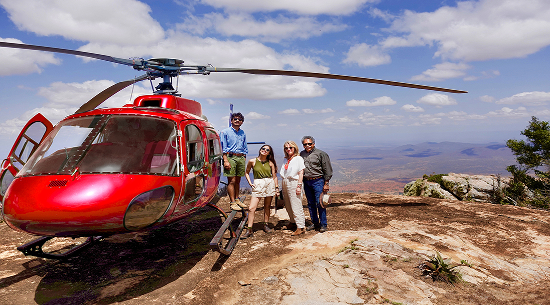 Helicopter Tour Group on Mountain
