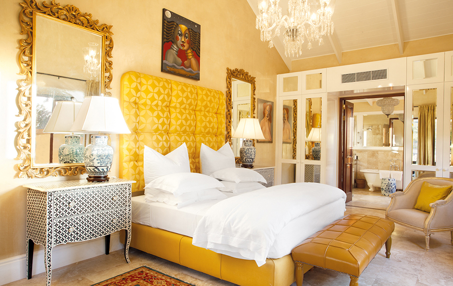 Guest Bedroom with yellow accents at La Residence