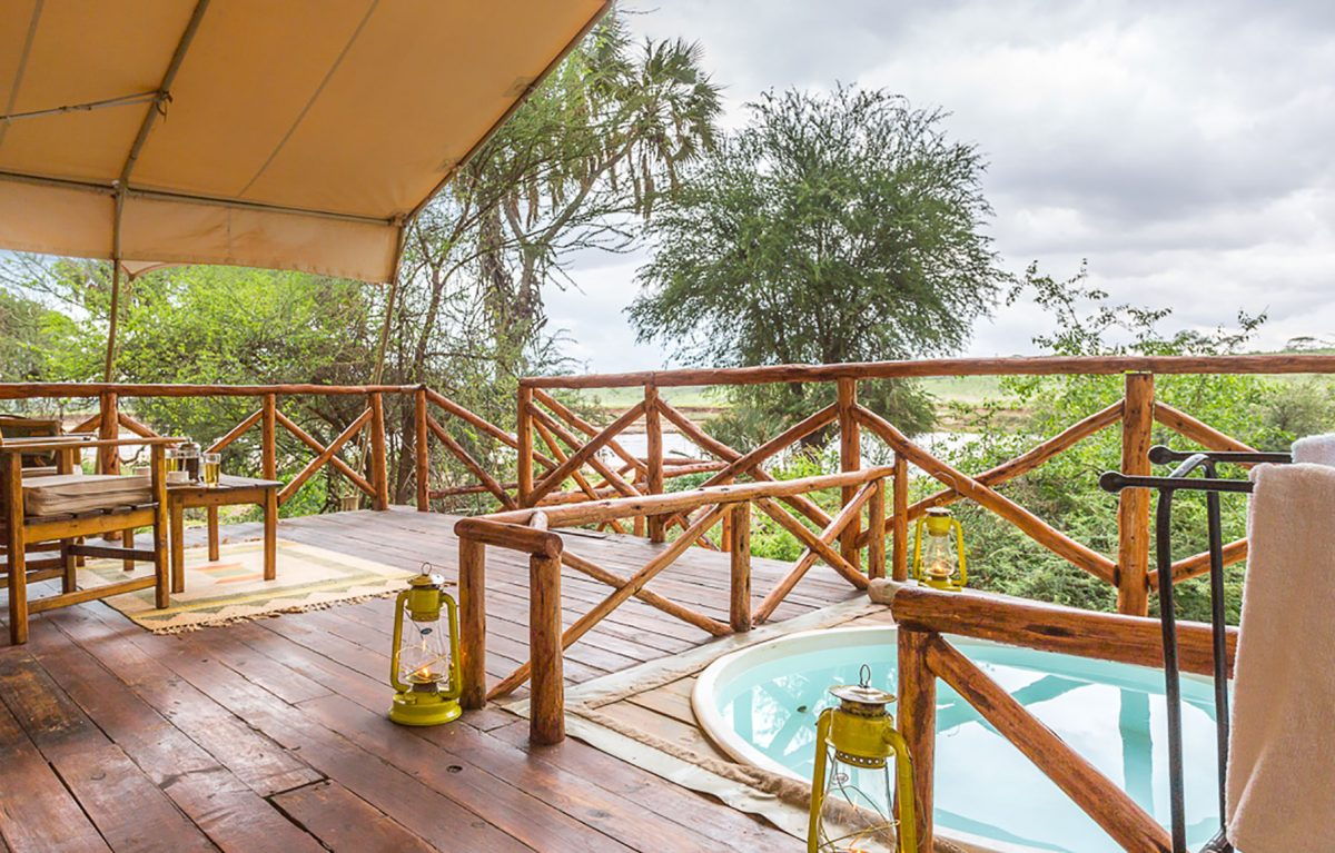 An outdoor pool at the Elephant Bedroom Camp.