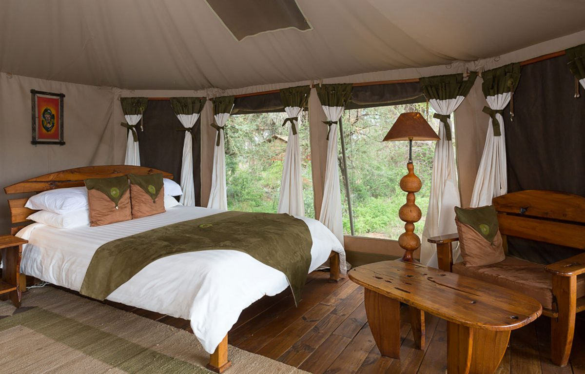 An interior shot of the bedroom at the Elephant Bedroom Camp.