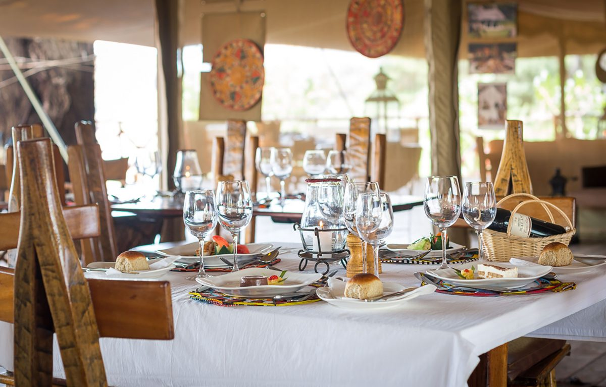 A table set for a formal dinner.