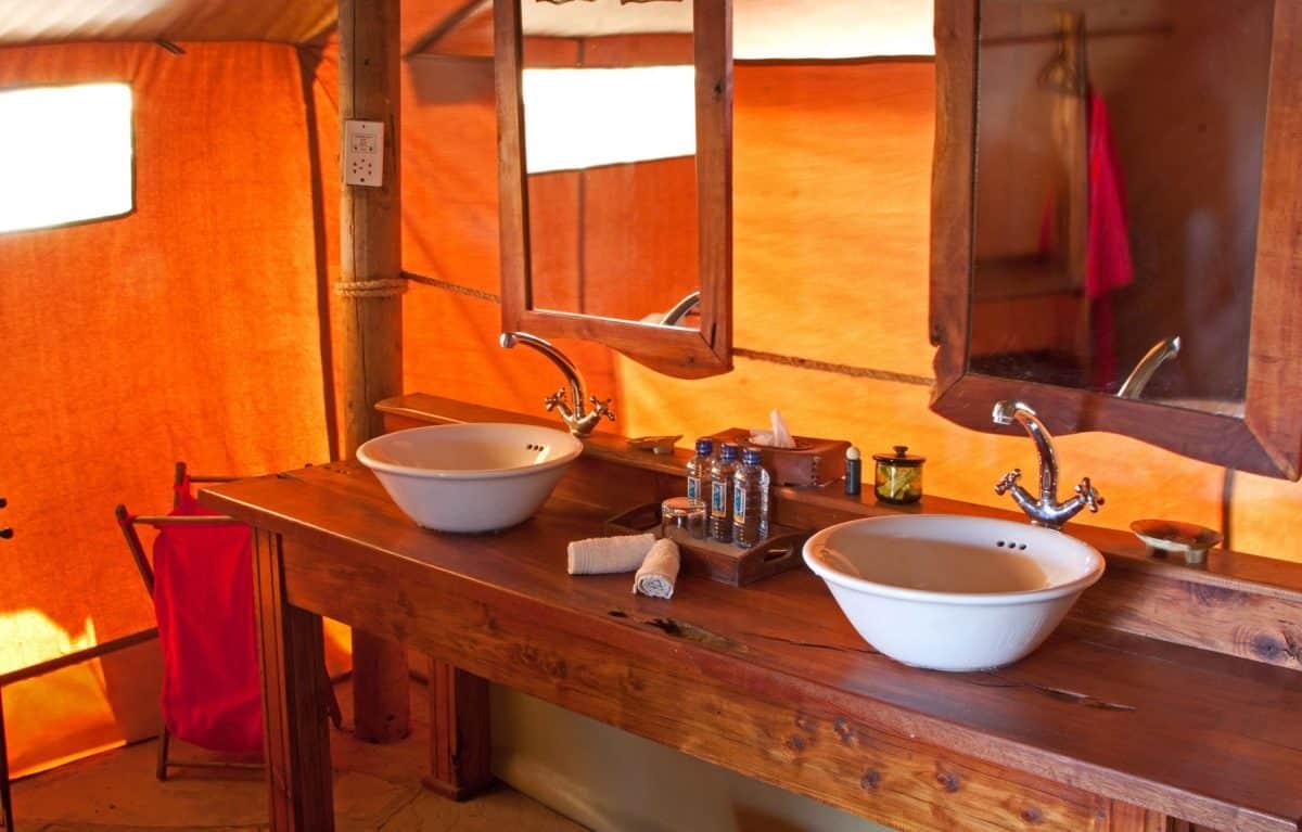 Two sinks side by side.