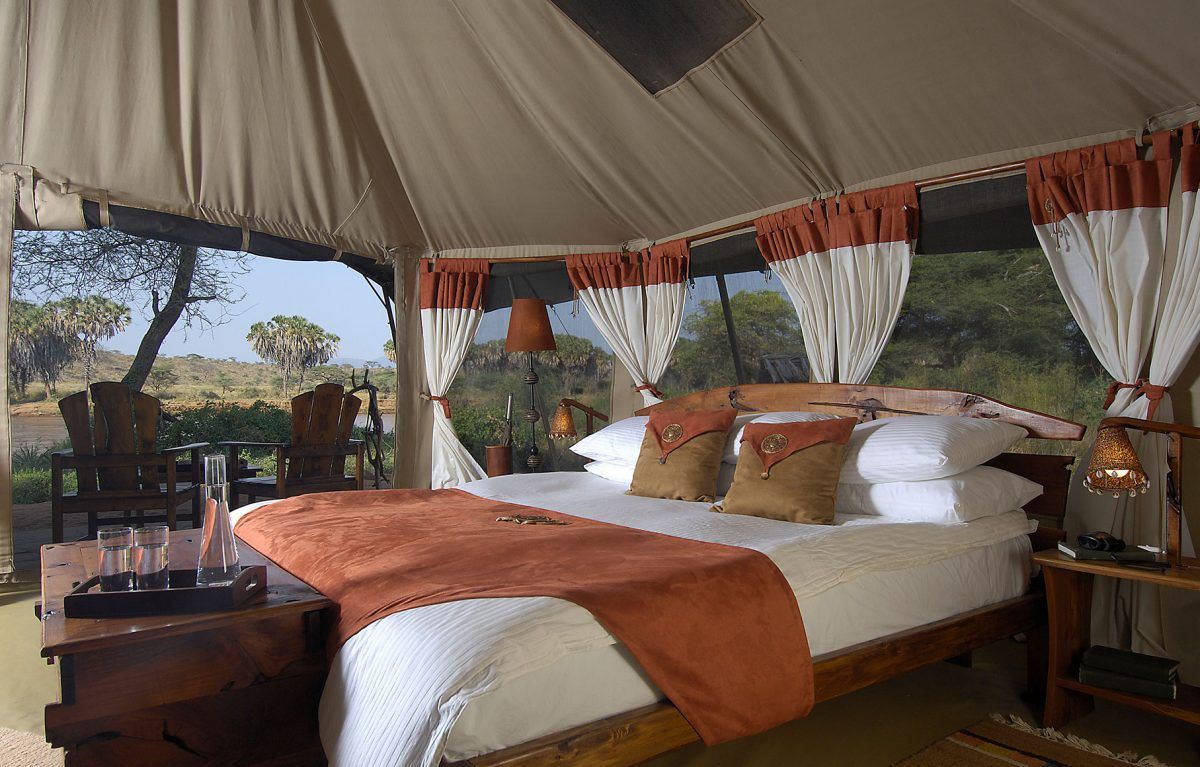 The master bedroom at the The Elephant Bedroom Camp.