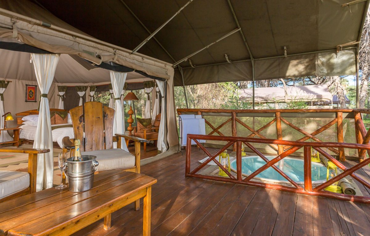 An interior view of the patio at the Elephant Camp.