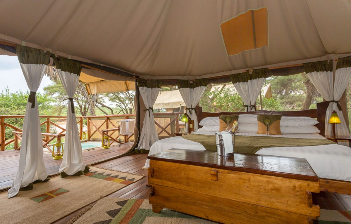 An interior view of the bedroom at the Elephant Camp.