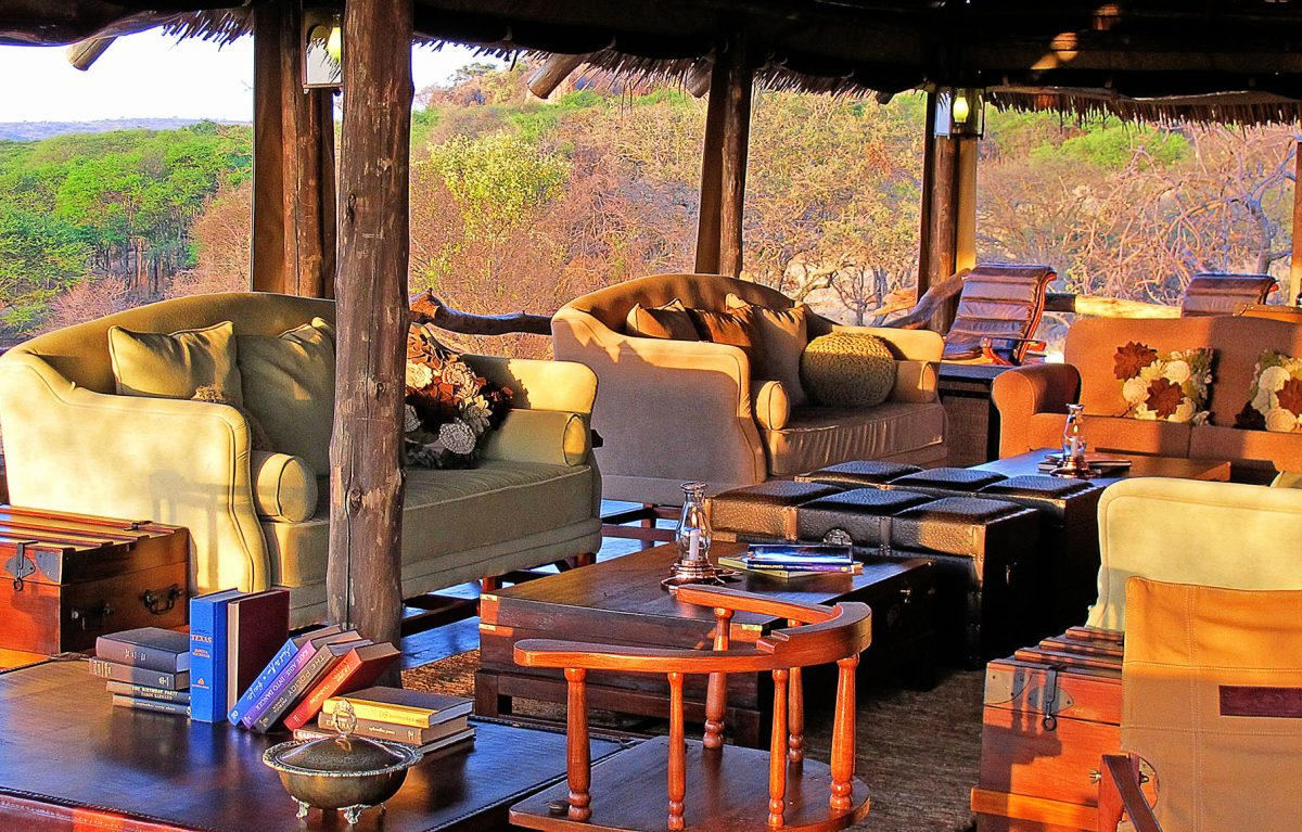 An interior view of the formal living room at Serengeti Pioneer Camp.