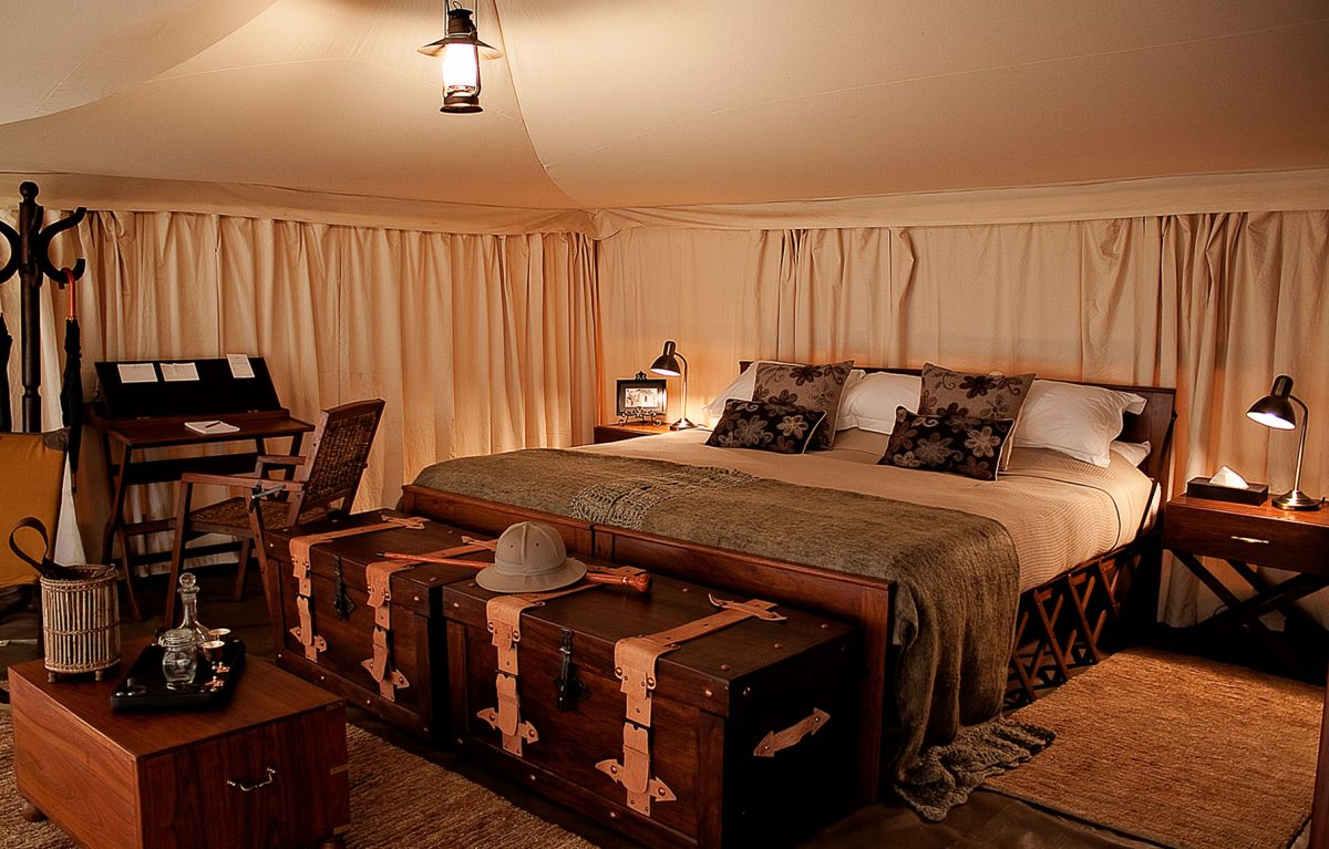 The master bedroom at the Serengeti Pioneer Camp.