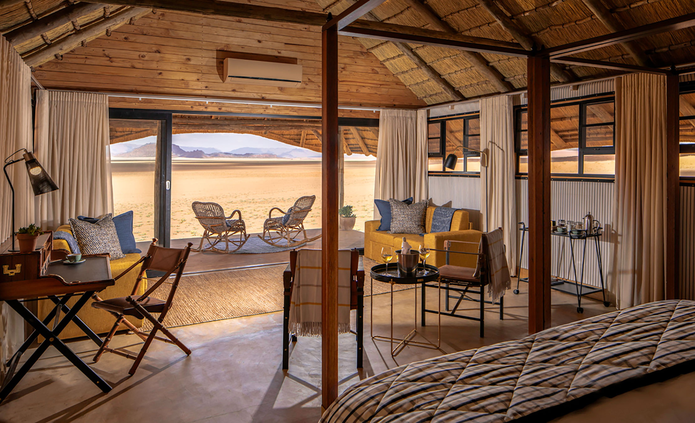 An interior view of the bedroom at Kwessi Dunes